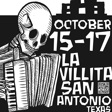 An image of a skeleton playing the accordian for the San Antonio Accordian Festival.