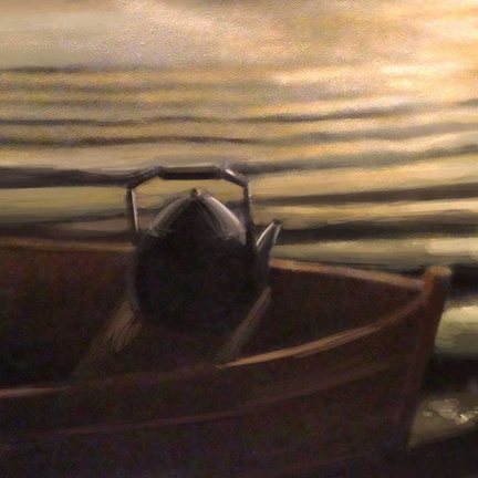 An image of a tea kettle in a boat at sunset for the cover of In the Lake of the Woods