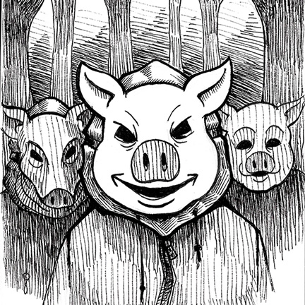An image of pig masked trick or treaters