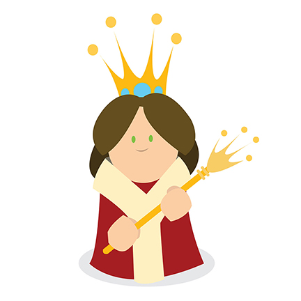 An image of a queen from the E book A Beginners ABCs