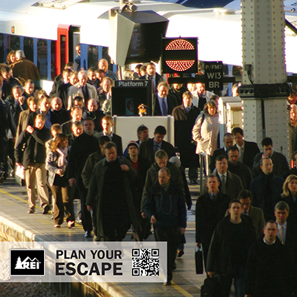 An image of people commuting with the caption plan your escape.