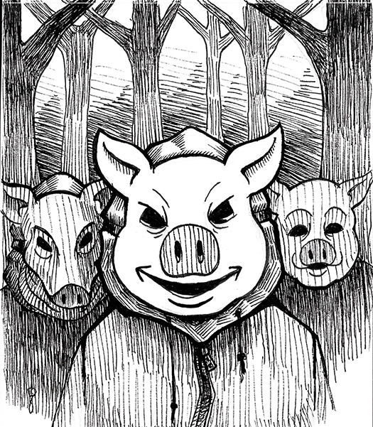 An image Pig Masked Trick or Treaters